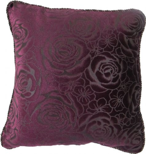CHENILLE FLORAL ROSES CUSHION AUBERGINE PURPLE COLOUR